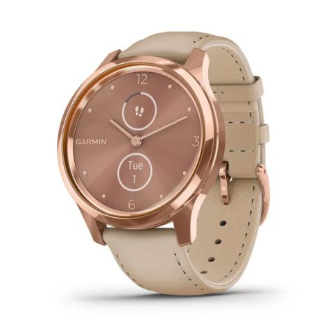 18K Rose Gold PVD Stainless Steel Case with Light Sand Italian Leather Band