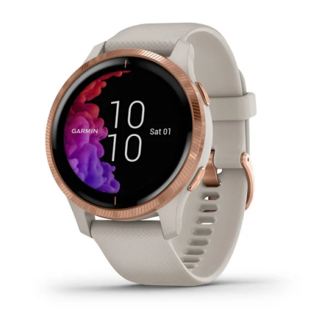 Rose Gold Stainless Steel Bezel with Light Sand Case and Silicone Band