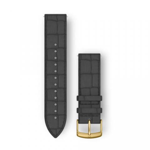 Black Embossed Italian Leather with 24K Gold PVD Hardware Band