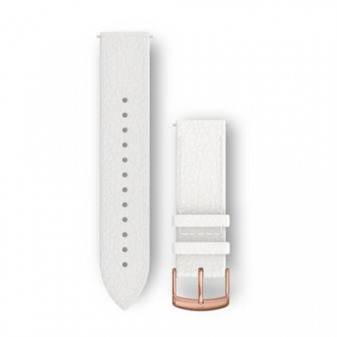 White Italian Leather with 18K Rose Gold PVD Hardware